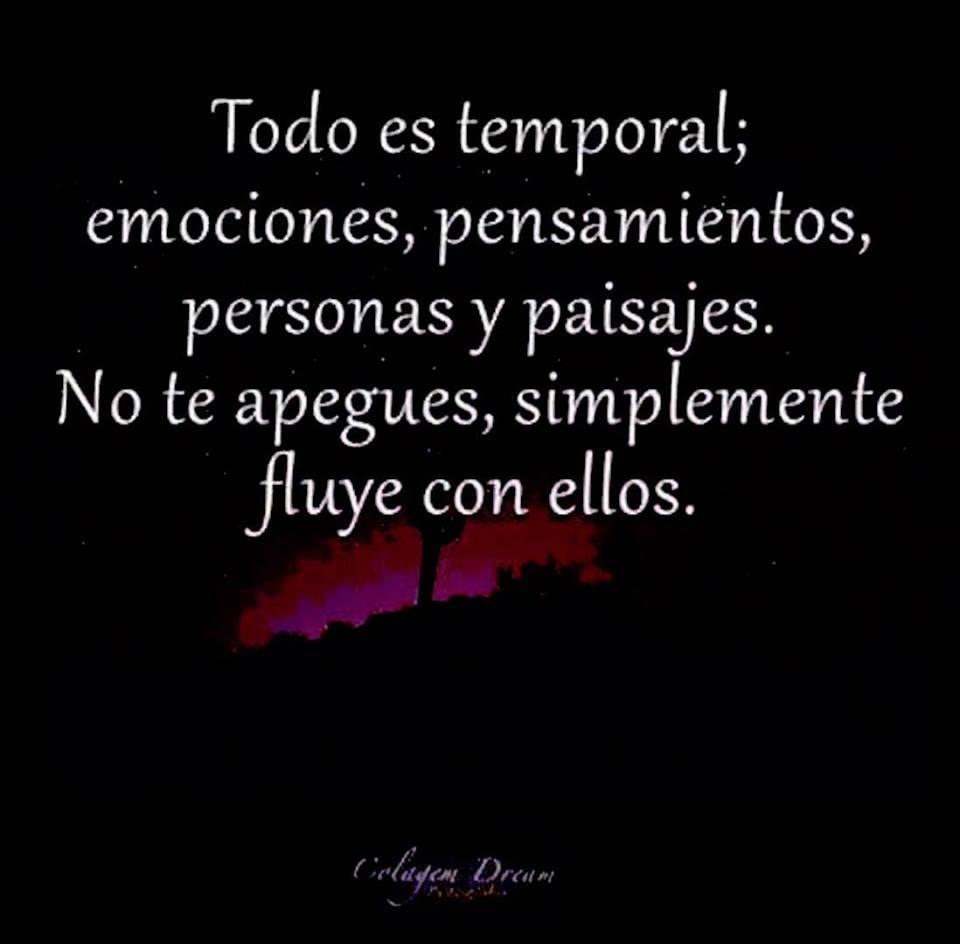 Todo es temporal; emociones, pensamientos, personas y paisajes. No te apegues, simplemente fluye con ellos.