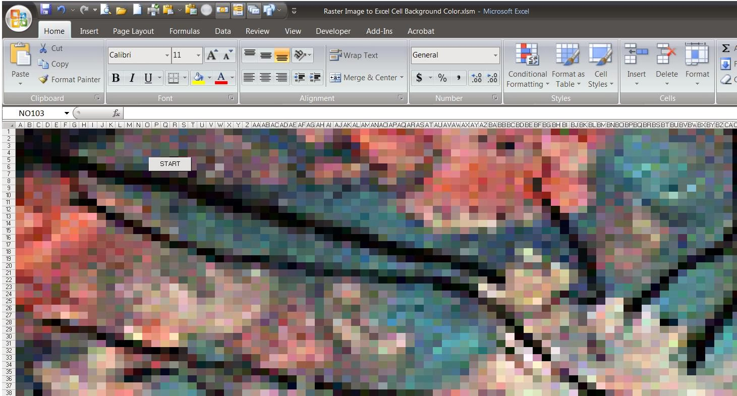 Image To Excel Background Cell Color Program