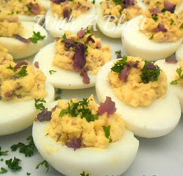 Honey Bacon and Cheese Deviled Eggs