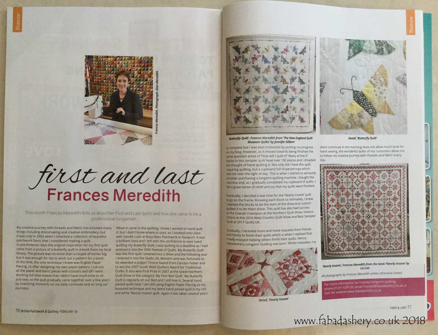 Fabadashery Longarm Quilting: Article - 'First and Last, Frances ... : long arm quilting uk - Adamdwight.com