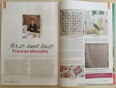 Article - 'First and Last, Frances Meredith,  British Patchwork and Quilting Magazine, February 2018