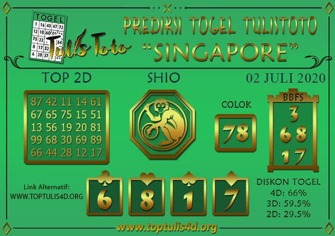 Prediksi Togel SINGAPORE TULISTOTO 02 JULI 2020