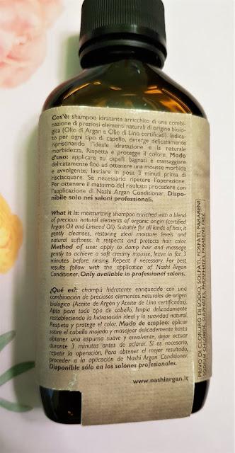 Nashi argan szampon nawilżający z olejkiem arganowym i lnianym do wszystkich rodzajów włosów