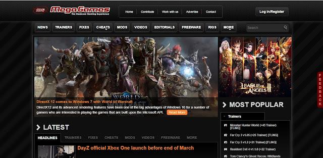 tampilan situs mega games