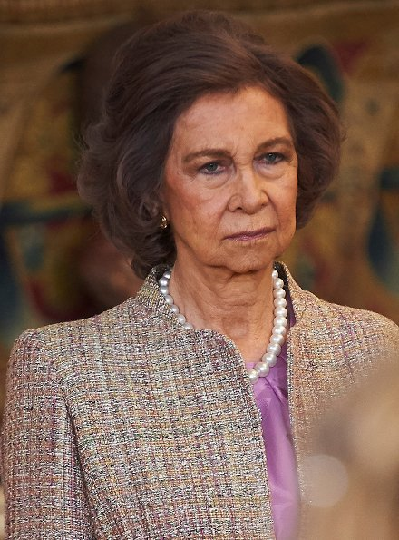 infanta Sofia, King Juan Carlos and Queen Sofia attended the ceremony of Toison de Oro Letizia wore Felpa Varela dress. Princesses wore Pili Carrera and Carolina Herrera