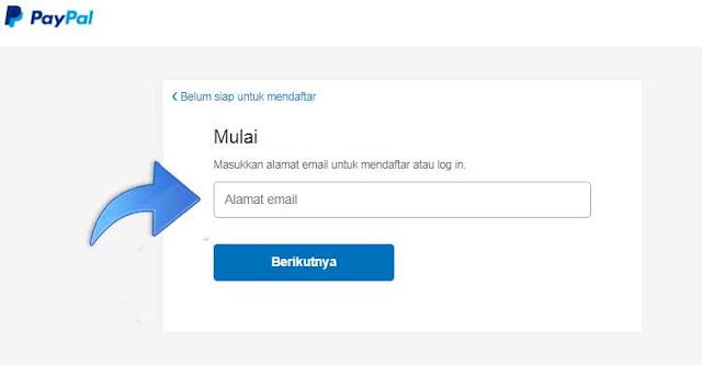 Masukan Alamat Email Untuk membuat akun paypal