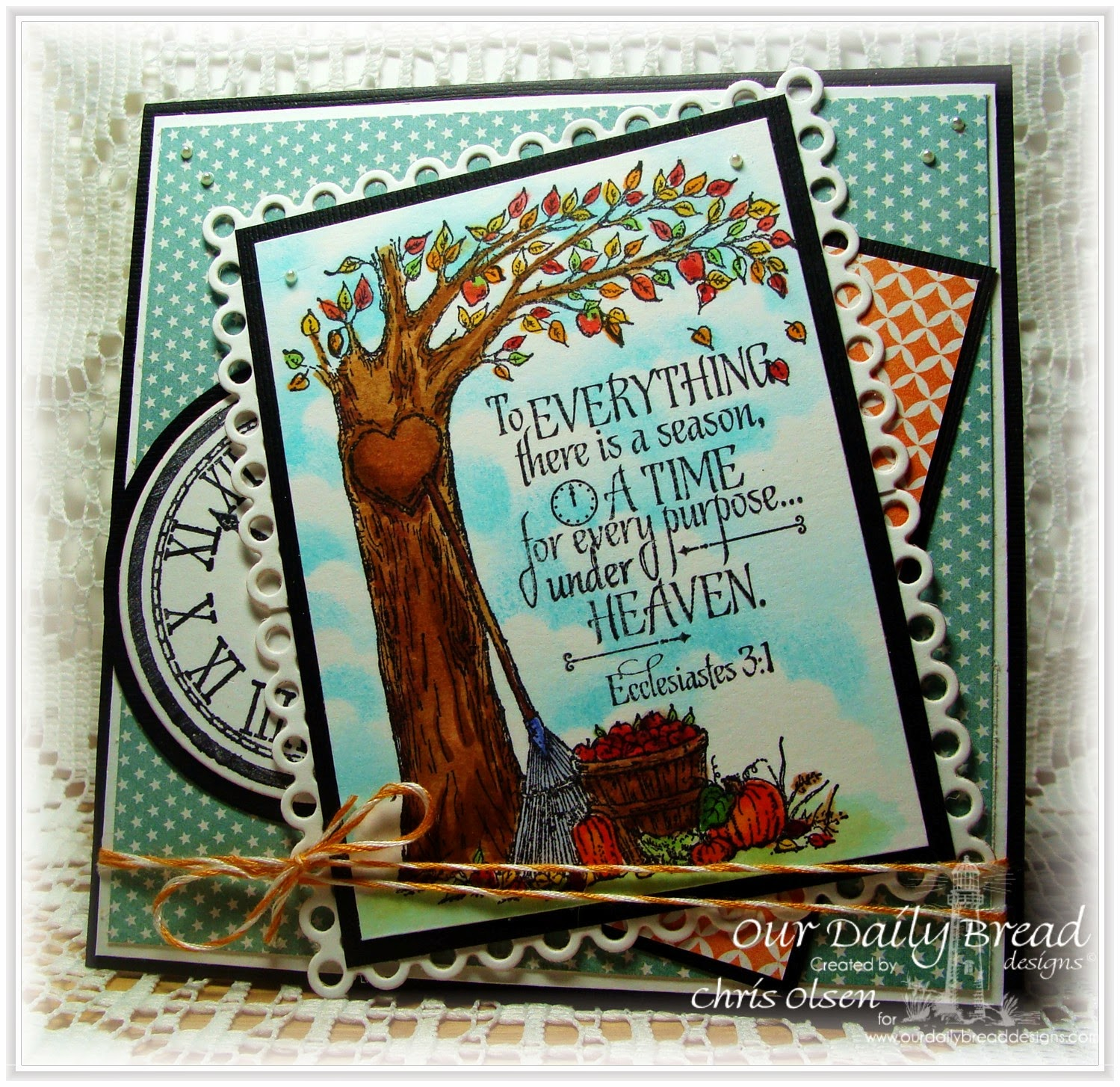 Our Daily Bread Designs, Autumn Tree, God's Timing, Circle Ornament dies, Matting Circle Dies, Designer-Chris Olsen