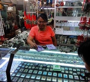 Jade seller at Bogyoke Market Yangon