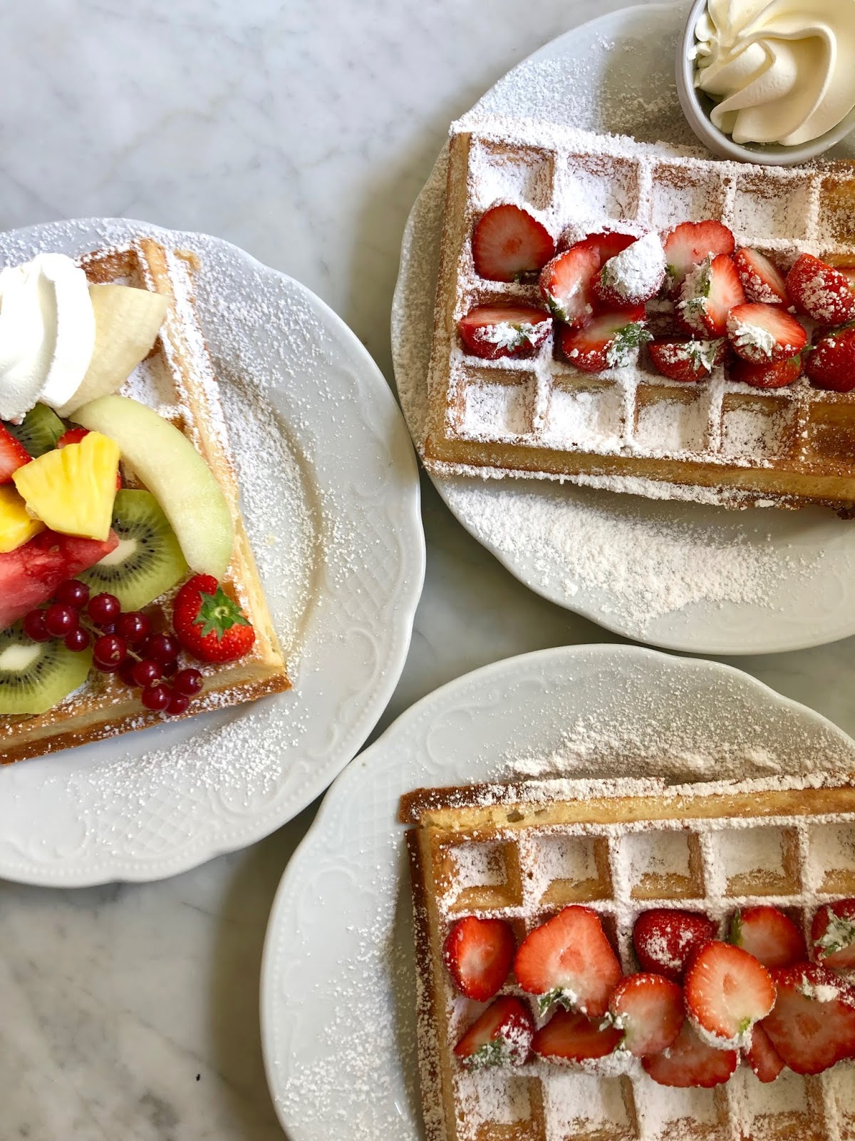 Fashion blogger Kathleen Harper's Brussels waffles from Max restaurant in Ghent, Belgium