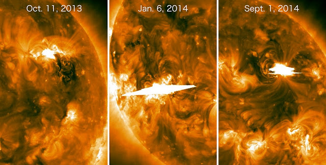 These solar flares were imaged in extreme ultraviolet light by NASA's STEREO satellites, which at the time were viewing the side of the sun facing away from Earth. All three events launched fast coronal mass ejections (CMEs). Although NASA's Fermi Gamma-ray Space Telescope couldn't see the eruptions directly, it detected high-energy gamma rays from all of them. Scientists think particles accelerated by the CMEs rained onto the Earth-facing side of the sun and produced the gamma rays. The central image was returned by the STEREO A spacecraft, all others are from STEREO B. Credit: NASA/STEREO