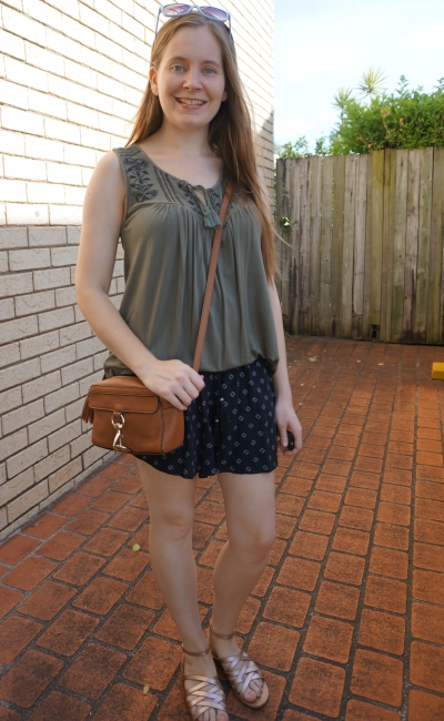 olive embroidered tank, printed culotte shorts, rebecca minkoff camera bag heatwave mum style | awayfromblue