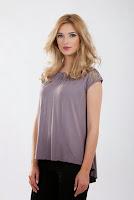 Bluza gri din jerse cu aplicatie dantela B222 (Ama Fashion)