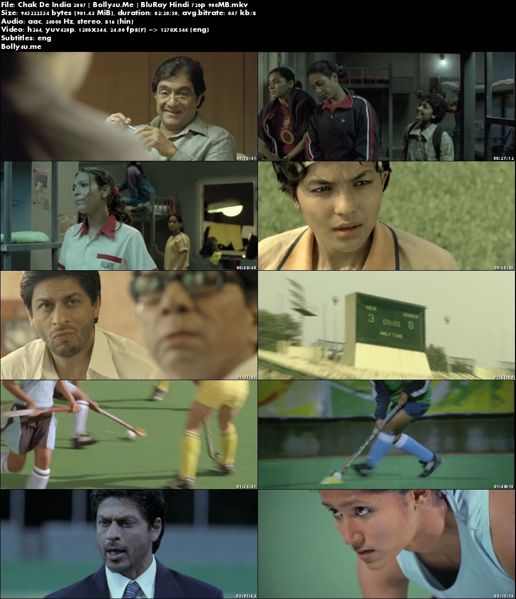 Chak De India 2007 BluRay 400MB Full Hindi Movie Download 480p