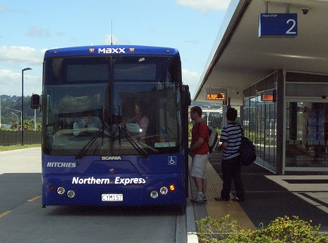 "Northern Busway, North Shore City, Auckland NZ Passengers board a ""Northern Express"" service operated for MAXX by Ritchies Coachlines."