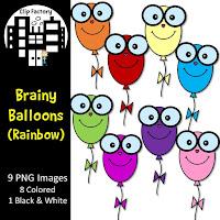 Clip Art Brainy Balloons