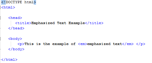 HTML Emphasized Text