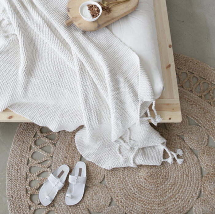 natural and white materials in bedroom
