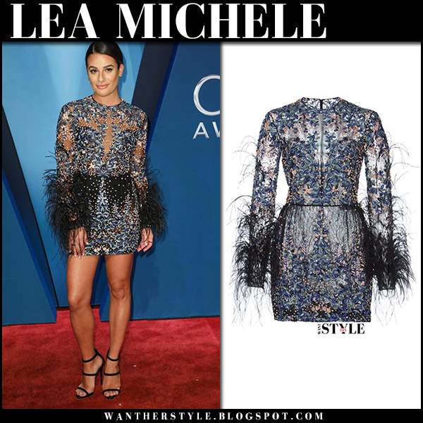 Lea Michele in embroidered feather trim mini dress zuhair murad on the red carpet at CMA Awards 2017 fashion