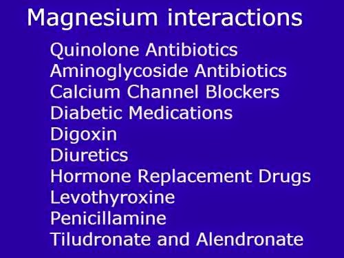 magnesium supplement drug interactions and contraindications