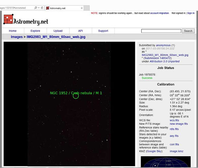 Palmia Observatory Resident Astronomer uses Astrometry.net to verify M1 location in image