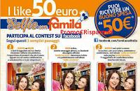 Logo Vinci gratis Buoni Famila da 50 euro con  un selfie