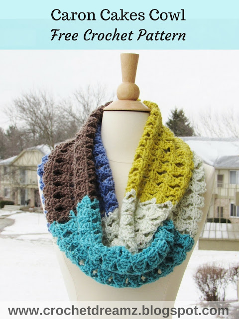 Free Crochet Patterns Using Caron Yarn : Crochet Dreamz: Caron Cakes Infinity Scarf Crochet Pattern ...