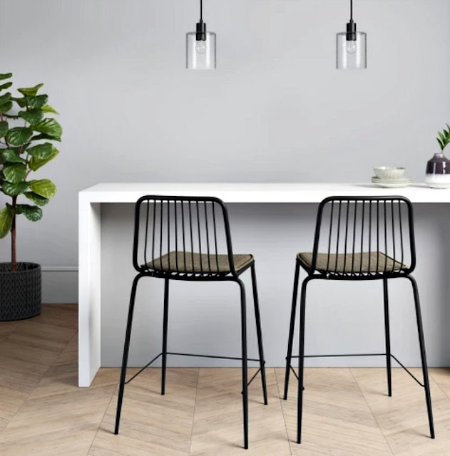 black metal kitchen counter stools