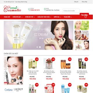 template blogspot bán hàng mỹ phẩm cosmetic