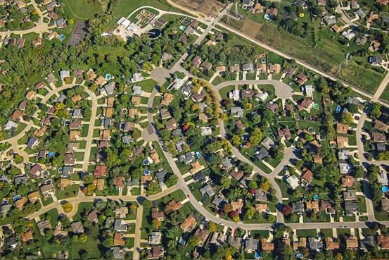 A housing subdivision outside of Chicago. Suburbs are seeing a recent increase in growth. Flickr Editorial/Getty Images