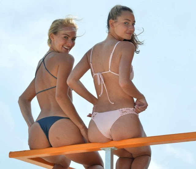 Selena Weber and Lauren Ashley in Bikini on Miami Beach
