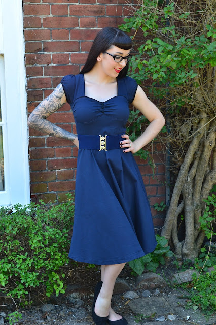 Bella Navy Swing dress from Chic Style Boutique, by Lindy Bop