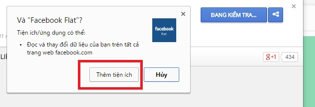 Facebook Flat trên Chrome