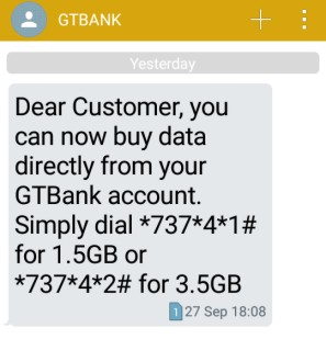 buy data directly from your gtbank account