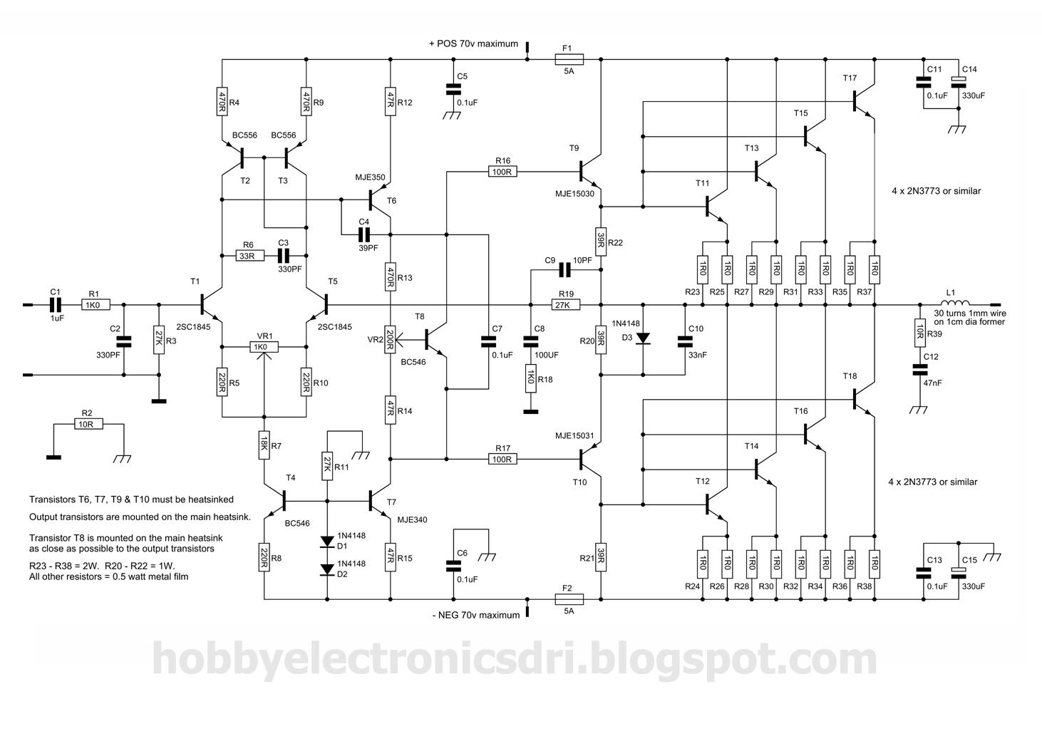 300 Watt Amplifier Circuit Diagram Wiring And Ebooks La4440 Audio Quasi With 2n3773 Rh Hobbyelectronicsdri Blogspot Com