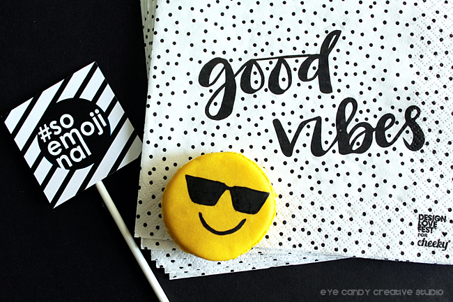 good vibes, black & white decor, soemojinal, emoji party ideas