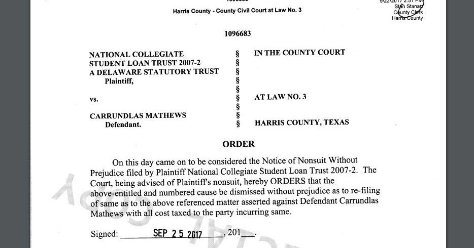 Consumer Debt Litigation (mostly Texas): Dismissals of National