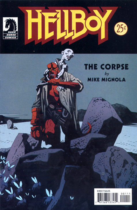 Hellboy carrying a desiccated corpse on his back