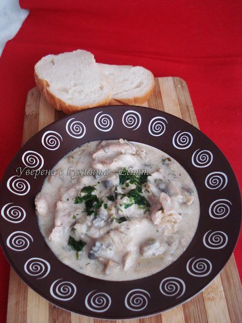 Пилешка супа с гъби и праз