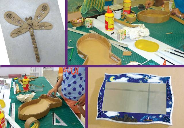 atelier samedis créatifs de l'été 2016 par Cartons Dudulle - fabrication de plateaux en carton, cadre miroir en carton, objet décoratif en carton