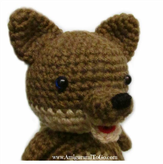 brown crochet wolf