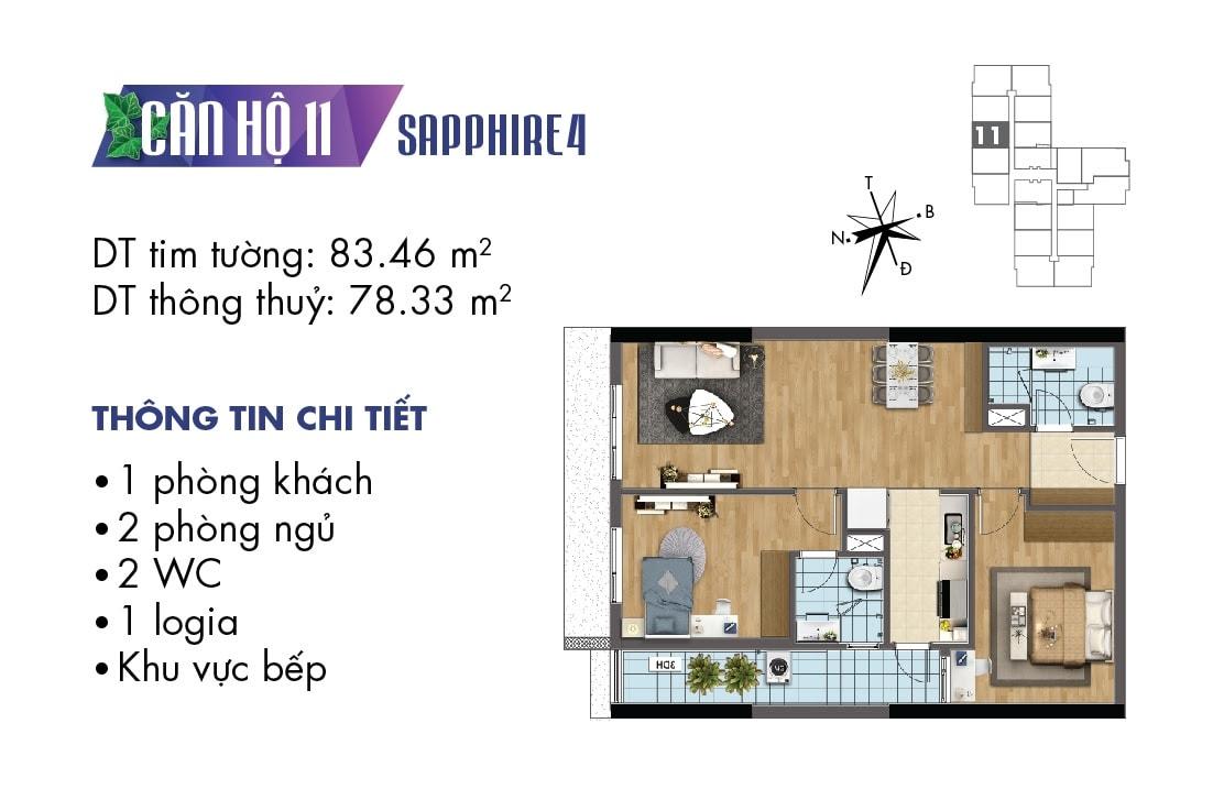 Mặt bằng căn hộ 2 phòng ngủ TNR Goldmark City