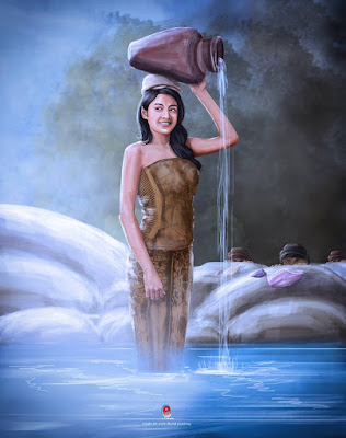 Digital Painting : Wanita Pembawa Kendi