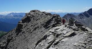 Descending from Grand Glaiza along the ridge