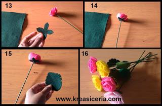 Tutorial membuat hiasan bunga mawar cantik dari kain flanel part 3