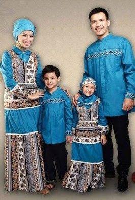 Model pakaian muslim batik ayah ibu anak