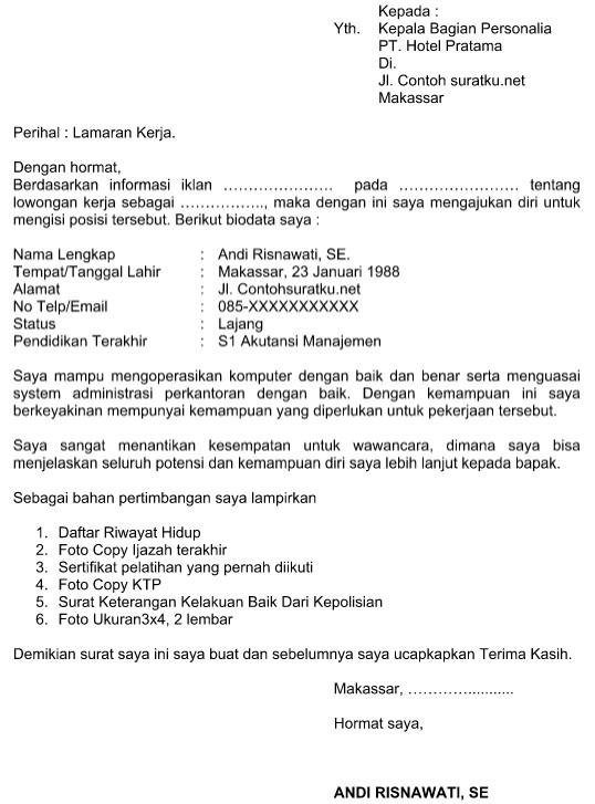 Contoh Surat Lamaran Kerja Di Hotel Terbaru Format Word Idnoffice