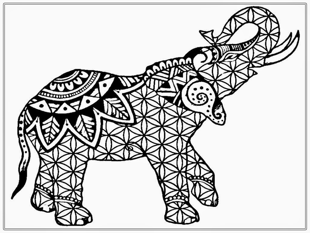 Pagine Da Colorare Per Animali Tribali: Adult Coloring Elephant Completed Coloring Pages