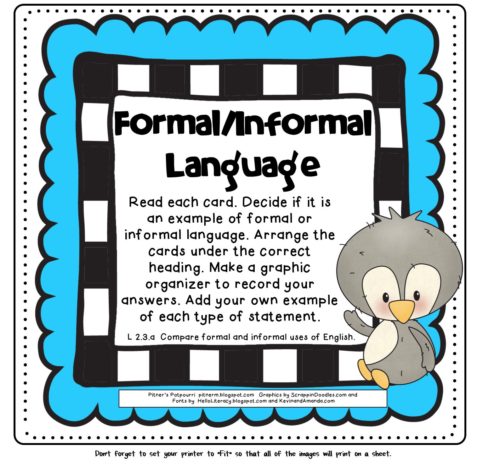 Pitner S Potpourri Formal Informal Language Freebie