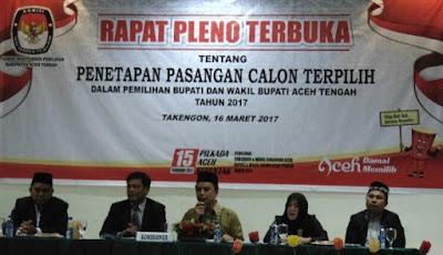 KIP Aceh Tengah Tetapkan Bupati dan Wakil Bupati Terpilih Shabella-Firdaus