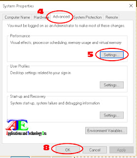 open system properties and go to advanced option performance setting